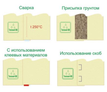 Соединение стыков производят нескольким способами, обязательно с нахлестом полотен друг на друга не менее 150 мм: